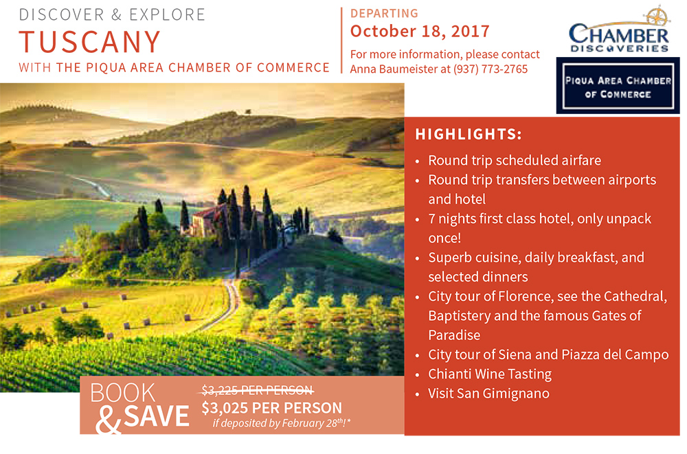 CD - Tuscany - Chamber Newsletter insert - Piqua Area - 2017