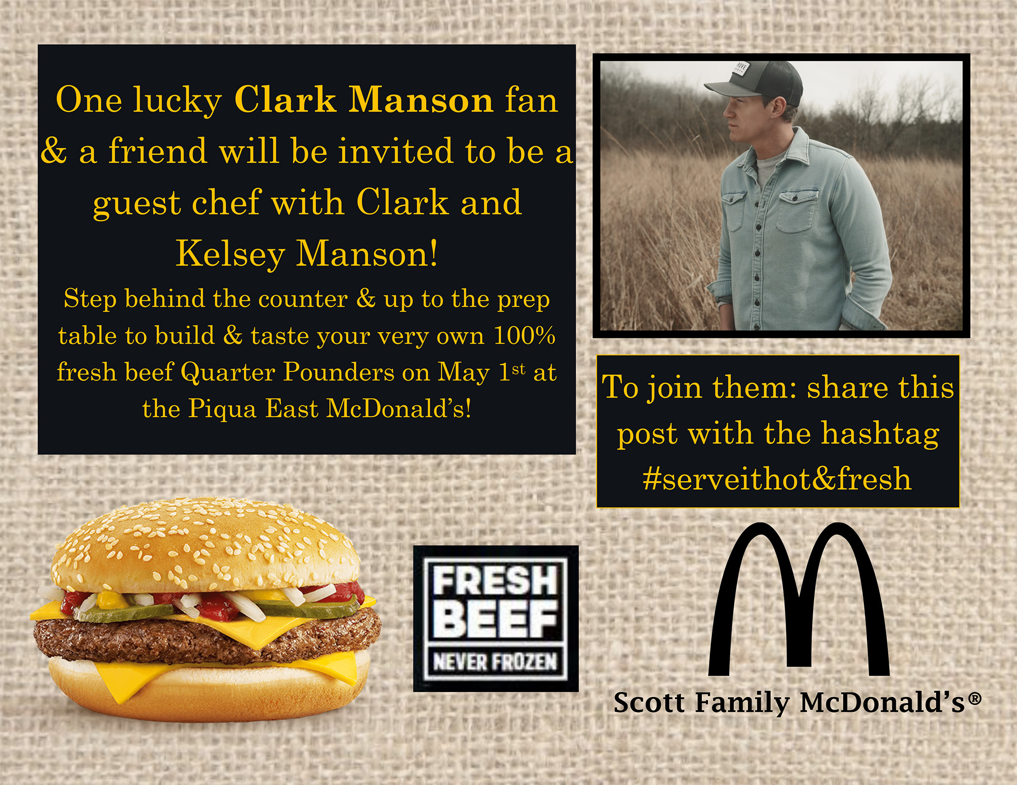 Join Clark Manson as a guest chef at Scott Family McDonald's on May 1st!